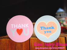 600pcs Heart Glossy Laminated Paper Circle Thank You Seal Sticker Gift Point Sticker For Party Favor Gift Bag Candy Box Decor