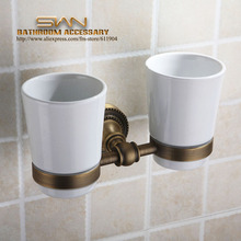 Antique Brass Toothbrush Double Cup Tumbler Holders Clear Glass Bathroom Hardware 3A11321