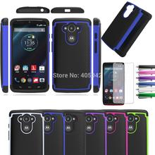 Phone Cases For Motorola Droid Turbo/Moto Maxx XT1254 Impact Rubber Shockproof Silicone Hard Case Cover+Stylus+3X Film