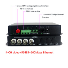4-ch video with RS485 and RJ45 Ethernet Transmitter & Receiver 4 channel fiber optic media converter FC 20KM