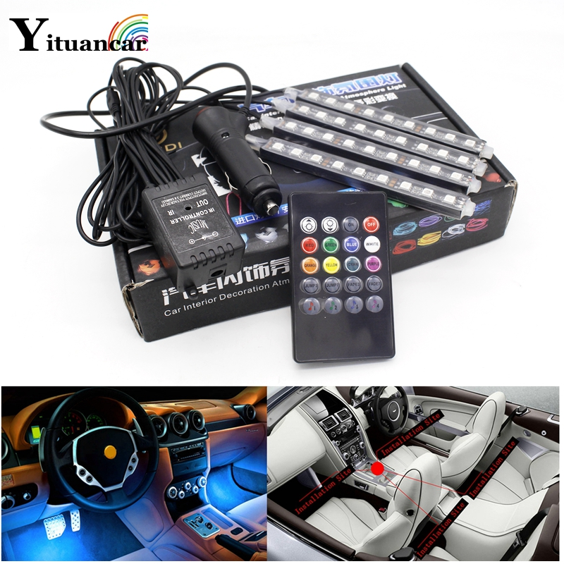 Yituancar 4Pcs Colorful LED Car Atmosphere RGB Strip Light Styling Voice Music Remote Control Interior Lamp 2X 4X Single Color title=