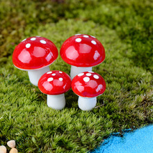 10pcs Red Mushroom Garden Ornament Mini Fairy Plants Pots Miniature DIY Dollhouse Supplies Newest(China)