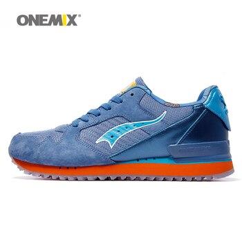 L onemix hombres retro zapatillas de deporte baratos zapatos para caminar los hombres zapatillas de deporte de los zapatos corrientes lentas portátil al aire libre athleticshoe
