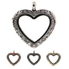 10pcs New Arrive Zinc Vintage Magnetic Glass Floating Heart locket living memory , Antique Heart lockets(China)