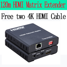 1080P HDMI extender 120m RJ45 over TCP/ IP Cat5e/6 Ethernet Transmitter and Receiver free two 4K hdmi cable(China)