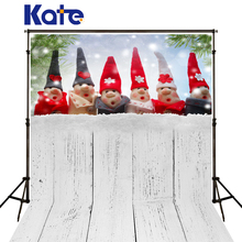 Kate Christmas Backgrounds Red Hat Toy Snow Fondo Navidad Photo Backdrops White Wood Floor Fundo Fotografico For Photo Studio(China)