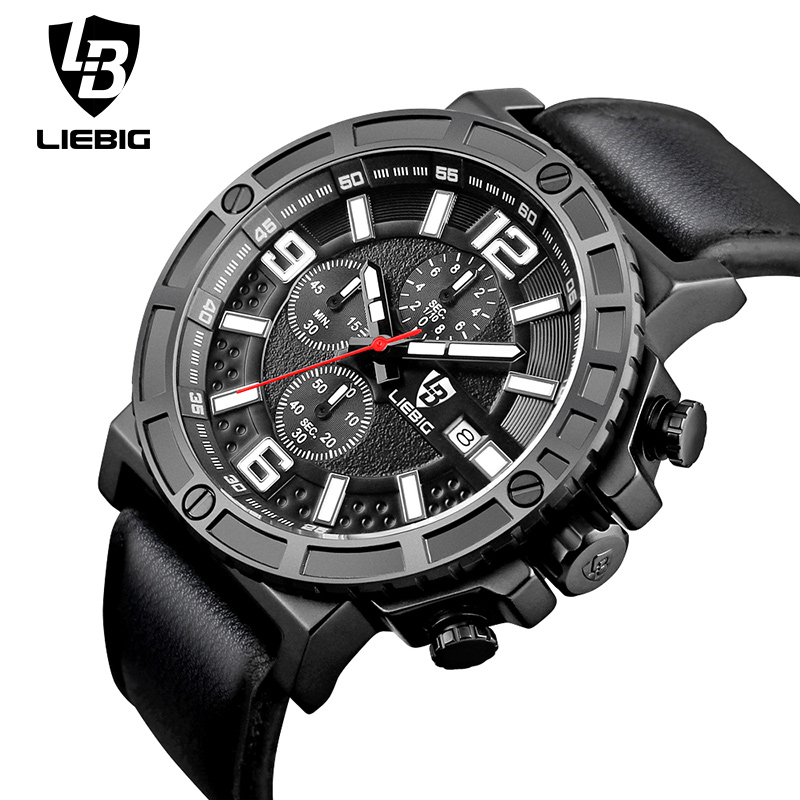 Fashion Multi-dial Military Sport Watch Men Leather Strap Calendar Waterproof Clock Analog Quartz Watches Relogio Masculino<br>
