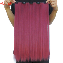 5 Piece/Lot Xi.rocks Synthetic 5 Clip in Hair Extension 50cm Hair Clips Extensions 50g Straight Hairpiece Dark Red Color118C