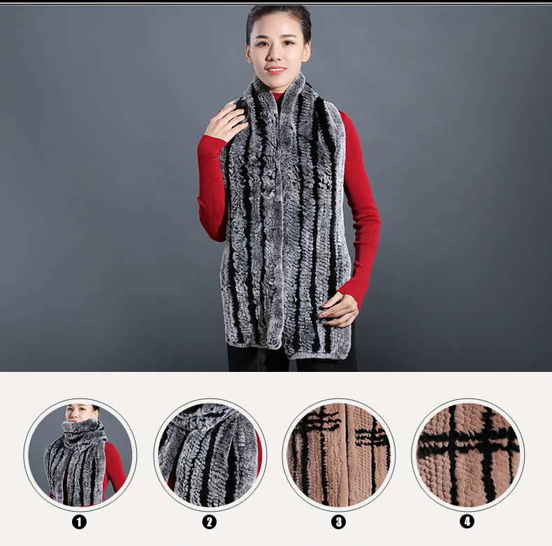 100% Real Rex Rabbit Fur Scarves Wraps For Women Winter Handmade 2018 New Fashion Long Natural Fur Scarf   (4)