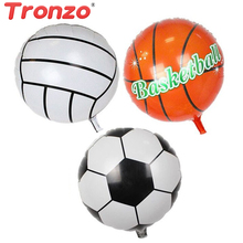 Buy Tronzo 10pcs Sport Foil Balloons Birthday Party Decoration 18inch Round Football Basketball Volleyball Balloon Children Favors for $3.12 in AliExpress store