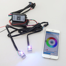 Free Shipping High Quality universal New Led Devil Eye Demon Eye RGBW Color Change by Celphone APP HID Xenon Projector Lens