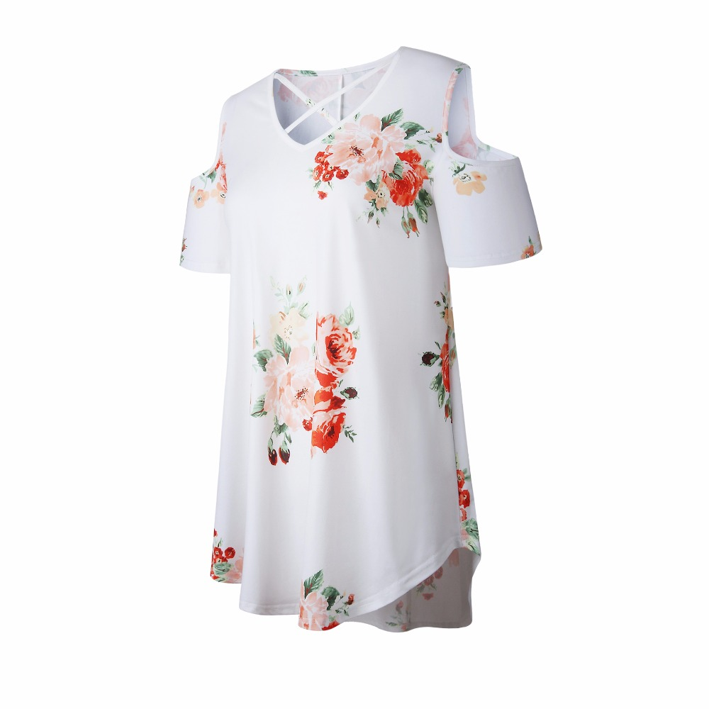 New 2018 Spring Summer Tops Women Short Sleeve Sexy Casual T-shirt Print Slim Off Shoulder T-shirt Flowers Print Tops T-shirt 24