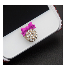 LANDFOX 2017 3D Crystal Bling Diamond Home Button Sticker for iPhone IOS Cell phones accessories Phone Stickers Dropshipping(China)