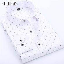 FKZ High Quality Custom Men Business Casual Long Sleeved Shirt Male Solid Color Dress Shirt Slim Fit Men Printed Shirt GNS002