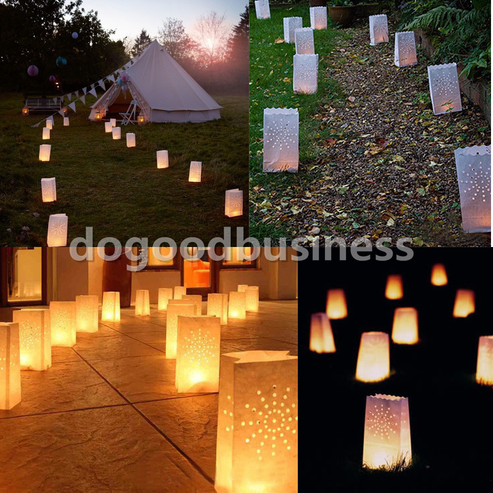 100pcs Cut Out Dots Design Candle Tealight Bags Paper Light Luminary Lantern Wedding Garden Party BBQ Decorations(China (Mainland))
