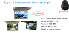HD 15.6 inches 12V LED Digital Screen Overhead Monitor Car Roof Mounted Monitor Flip Down Monitor 1920*1080 AV USB SD HDMI TF FM(China)