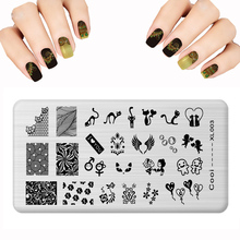 New Design 12x6cm Nail Stamping Plates Fashions Chameleon Stamp Polish Flowers Fox Patterns Steel Stamping Nail Art templates