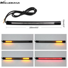 MALUOKASA Motorcycle Brake Light 48LED Flexible License Plate Light Red Amber Tail Brake Stop Turn Signal Lamp With Cable Wire