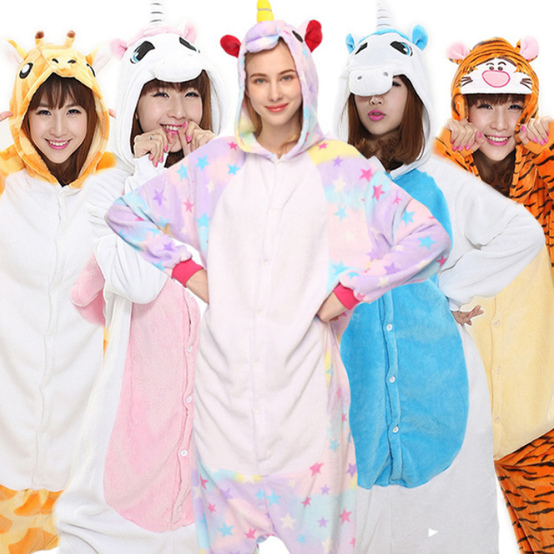 Adult Unicorn Pajama Sets Cartoon Women Men Sleepwear Children Pajama Unicorn Pajamas Flannel Hooded Cosplay Zipper Kigurumi(China)