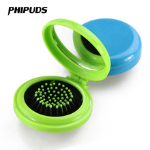 FX66 Girls Travel Folding Hair Massage Brush With Mirror Pocket Size Comb Random Colors(China)