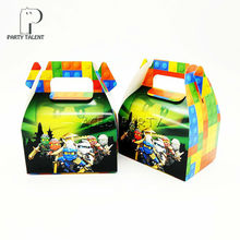 24pcs/lot Candy Box Cake Box for Kids  Ninjago Theme Party Baby Shower Party Decoration Party Favor Supplies