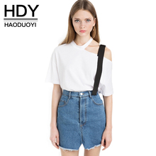 Buy HDY Haoduoyi 2017 Fashion T-shirt Women Casual Short Sleeve Solid White Lady Top Hollow One Shoulder Slim Female T-shirt for $8.75 in AliExpress store