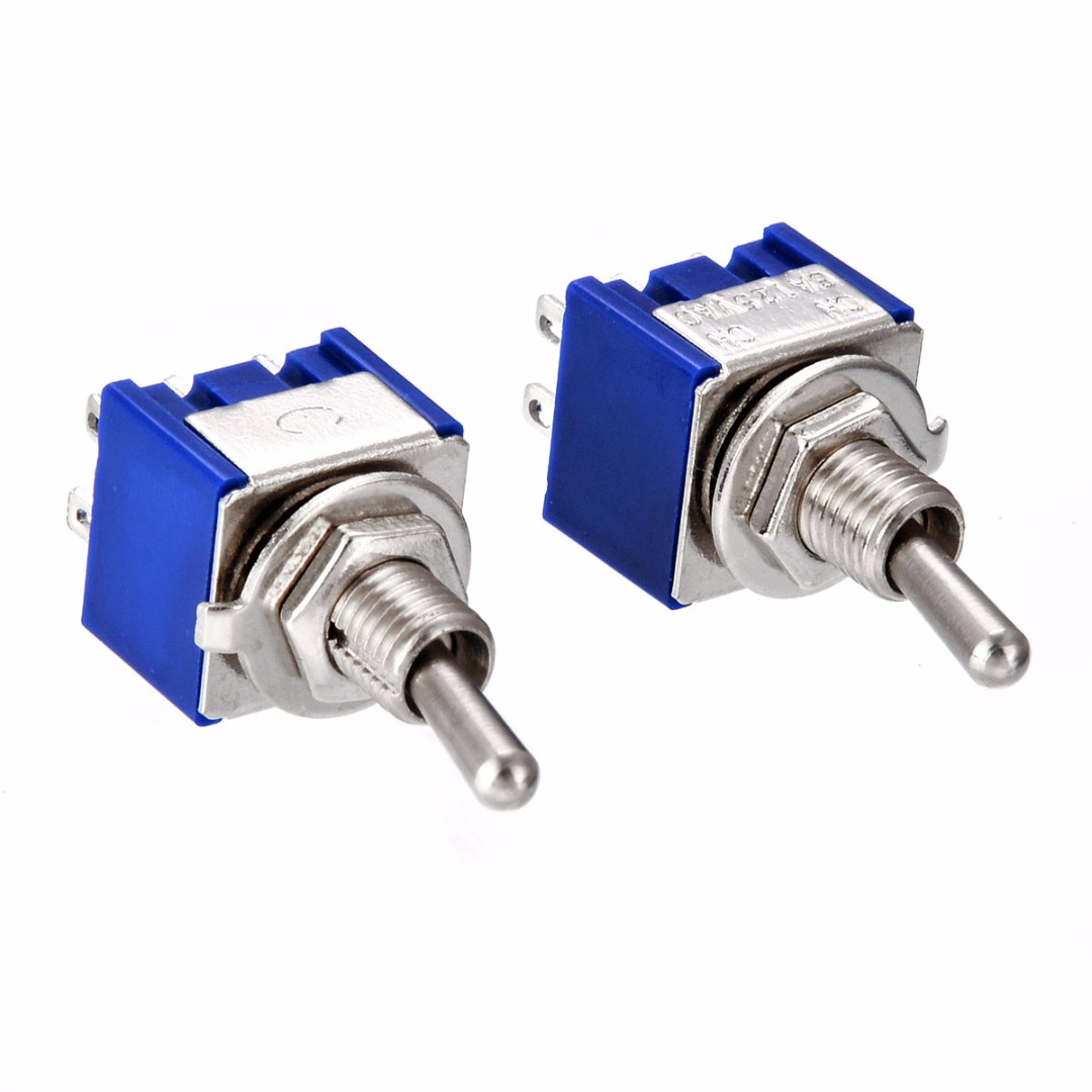 5pcs/10pcs MTS-202 DPDT Switch 6A 125V AC 6-Pin ON-ON Mini Toggle Switches 31*13*12mm For Switching Lights Motors Mayitr