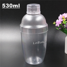 High quality 530ml PC Polycarbonate cocktail shaker wine bottle with measure gauge for home & bar drinking accessories