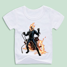 Ready Stock,Children Ghost Rider Cool Inspired By Movie T-Shirts Summer Tops Girls Boys Short Sleeve T shirt Baby Clothes(China)