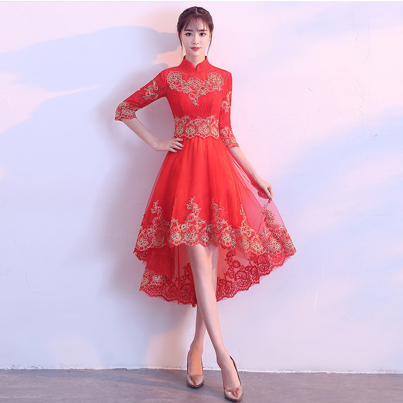 Chinese traditional dress summer style long qipao red lace Mermaid ...