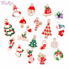 FENGRISE 19pcs Metal Alloy Mixed Christmas Charm Set Xmas Pendant and Drop Ornaments Hanging Decor Christmas Tree Decorations(China)