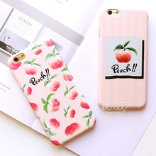 BROTOLA Cartoon Fresh Fruit Juicy Peach Case For Apple iPhone 7 7Plus 6 6S Plus Pink Peaches Hard PC Matte Phone Back Cover Capa