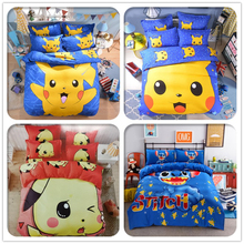 Cute Pikachu Bedding Set Cartoon Pokemon Hello Kitty Doraemon Stitch Duvet Cover Bed Sheet Pillowcase for Kid Gift Free Shipping(China)