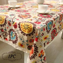 Popular Bohemian National Wind Decorative Table Cloth Cotton Linen Lace Tablecloth Dining Table Cover Kitchen Home Decor