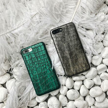 Green & Grey Sequins Crocodile Skin Case for iPhone 7 7plus Luxo,Funda for iPhone6s plus 6 6s 6splus From Ludi PU Case(China)