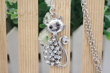 cat necklace Retail Romantic Engagement Gold Color Cute Cat Jewelry Necklace with Austrian Crystal cat sweater chain