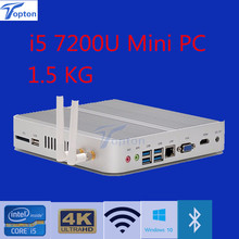 Hot mini Fanless Win 10 Barebone V2 i5 7200U HD 4K HTPC Desktop Computer+DP+HDMI+4*USB3.0+1*USB2.0 3-year warranty(China)