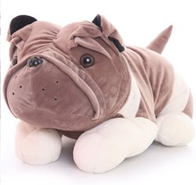 BOHS Cute Plush Bulldog Doll Lying Prone Dog Cockle Pillow Toy Baby Toddler Gift 32cm(China)