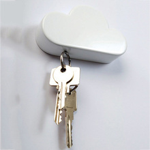 Creative Home Keyholder Novelty Cloud Shape Magnets Key Holder Suck Rack Magnetic Hanger Chain Ring KeyChain Wall Glass Sticker(China)