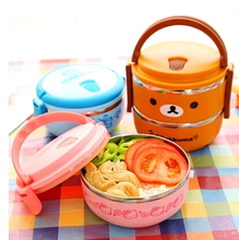 Cute Cartoon Hello Kitty Rilakkuma Minions Stainless Steel Inner Double Deck Thermal Lunch Box Vacuum Bento Box Retail