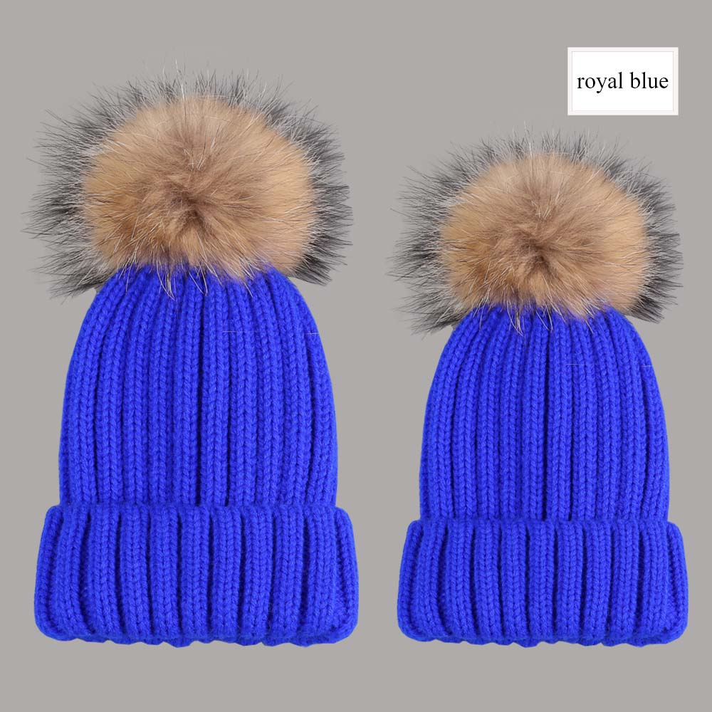 beanies with pompom thick royal blue