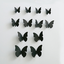 2set(24pcs.) Creative Black PVC Butterfly With Magnet And Sticker Size Assorted Home Wedding Decoration(China)