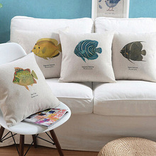 Ocean Fish Home Decorative Cushion Cover Throw Pillow Case Marine Life Office Chair Polyester Linen Cojines Almofada 45*45cm