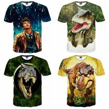 High quality big boy loose short sleeve round neck 3d dinosaur print three-dimensional pattern boy t-shirt 14-20 years old