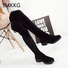 2017 Autumn Winter Bota Over the knee high Boots Women botas Femininas mujer Flat heel Boots slimming elastic Suede Boots S431(China)