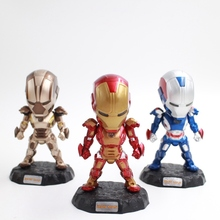 3pcs Avenger Iron Men LED light lumination control Attack Mark ABS Material mini Action Figure Collectible Model Toys with boxes