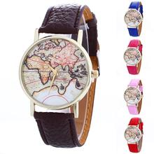 Fashion Lady Relojes Mujer Business Clock Women's World Map Leather Candy colored Strap Analog Quartz Clocks Hours Wrist Watch(China)