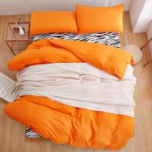 Orange bedding set zebrastripe duvet cover set Pastroal style bedclothes Summer bed linens Adult bed set flat sheet duvet cover