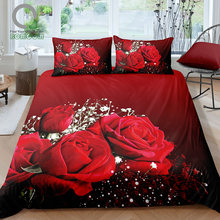 BOMCOM 3D Digital Printing Close up Valentines Day Red Roses Bouquet Gypsophila Paniculata Wedding Bedding Set 100% Microfiber(China)