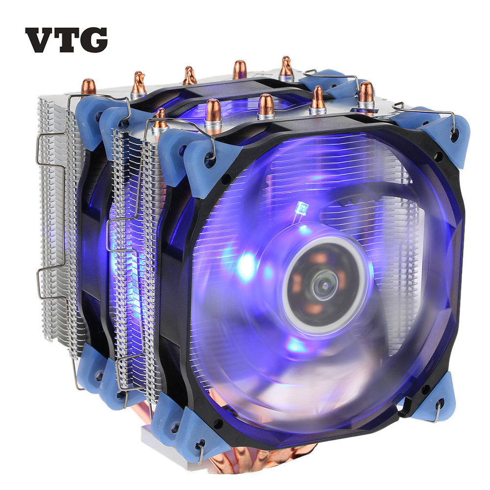VTG 5 Heatpipe Radiator 4pin CPU Cooler Fan Cooling 5 Direct Contact Heatpipes with 120mm Fan for Desktop Computer PC Case Intel<br>